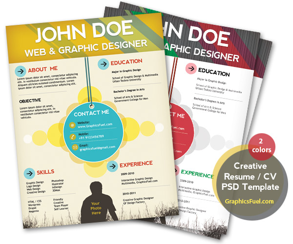 Graphics Fuel Resume Template  Colorful Resume Templates