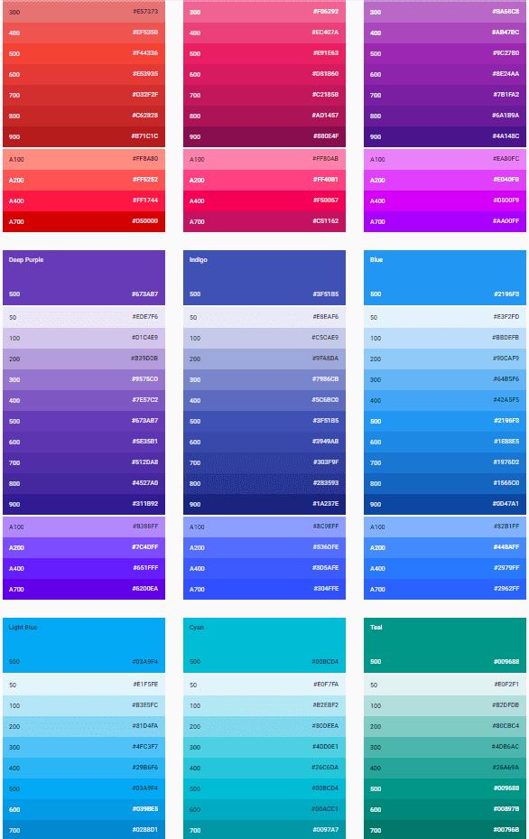 Material de concepção paletas de cores 2