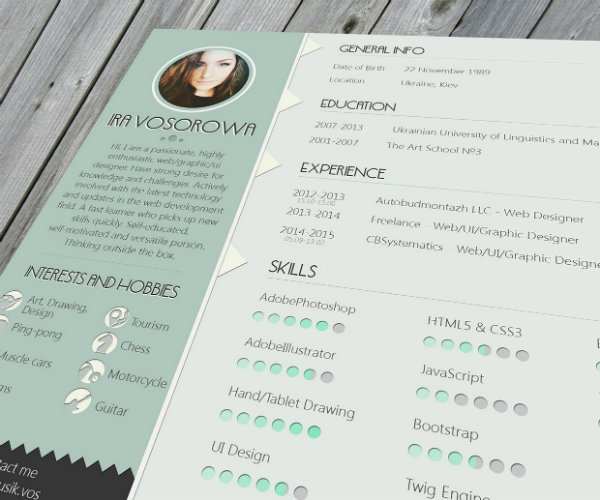 mint resume - Web Designer Resume
