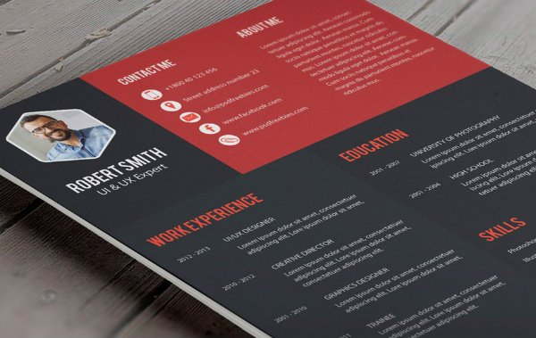 Creative Professional Resume Template. PSD Freebies Resume