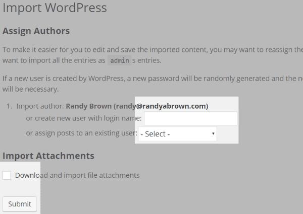 WordPress import authors