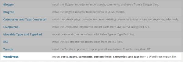 WordPress import plugins
