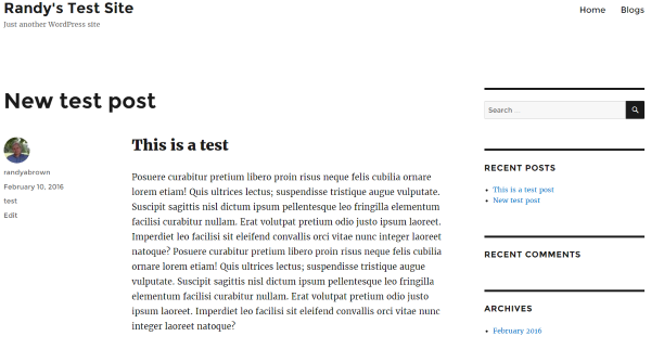 WordPress import result