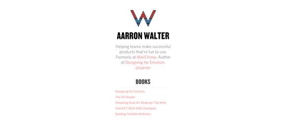 A screenshot of Aarron Walter's homepage.