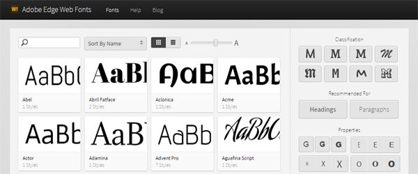 A screenshot of the Adobe Web Edge Fonts homepage.