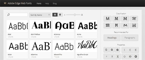 A screenshot of the Adobe Web Edge Fonts homepage.