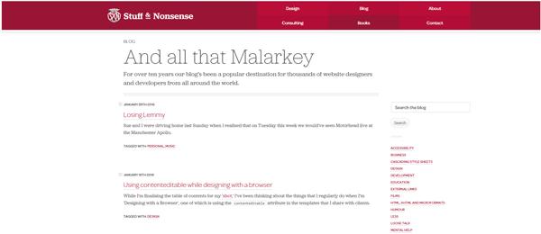 A screenshot of Andy Clarke's homepage.