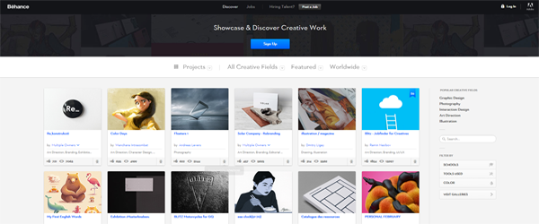 A screenshot from the Behance homepage.