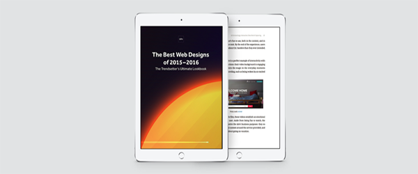 """A screenshot of """"The Best Web Designs of 2015-2016"""" as shown on a tablet."""