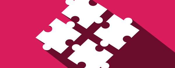 Four puzzle pieces on a red background.
