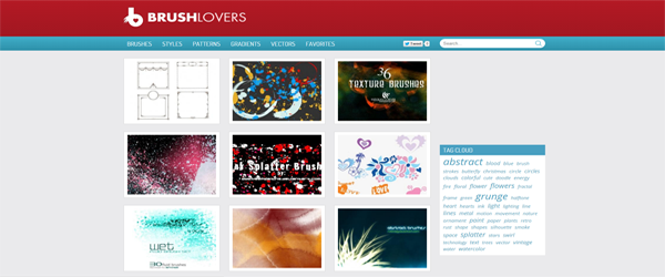 A screenshot from the Brushlovers homepage.