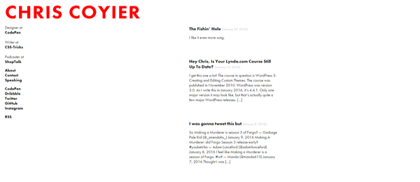 A screenshot of Chris Coyier's homepage.
