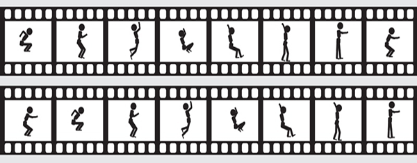 Two reels of animations showing a stickman jumping.