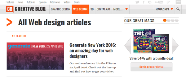 A screenshot of the Creative Bloq web design section.