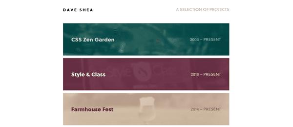 A screenshot of Dave Shea's homepage.