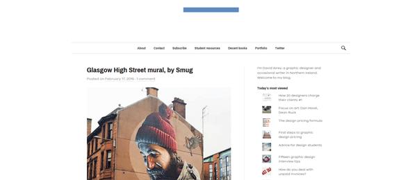 A screenshot of David Airey's homepage.
