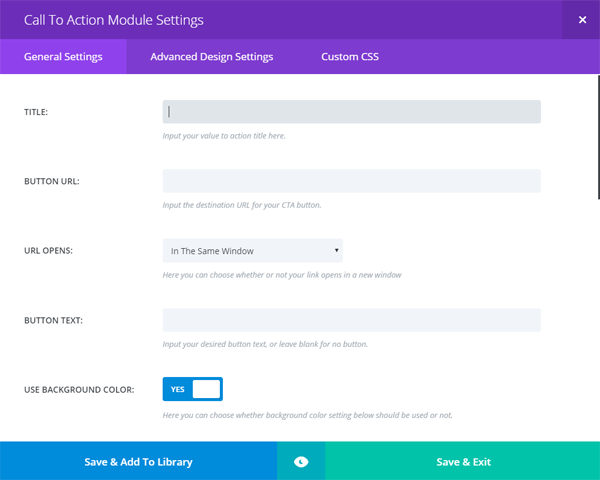 Main menu of the Divi call to action module.
