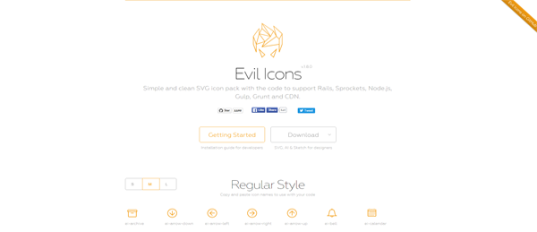 A screenshot from the Evil Icons homepage.