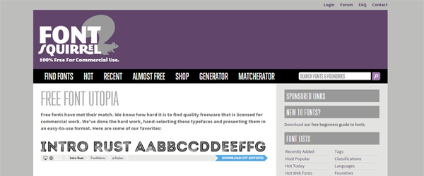 A screenshot from the Font Squirrel homepage.