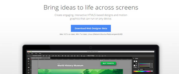 A screenshot of the Google Web Designer homepage.