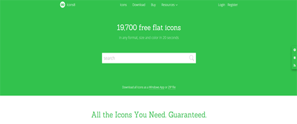 A screenshot from the Icons8 homepage.