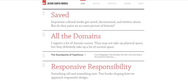 A screenshot of Jason Santa Maria's homepage.