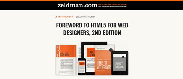 A screenshot of Jeffrey Zeldman's homepage.