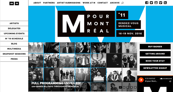 A screenshot from the M for Montreal website.