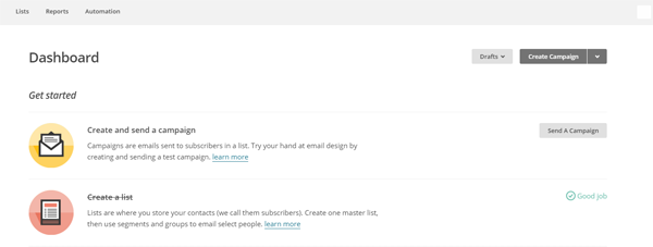 MailChimp provides a good example of a simple, clean interface.