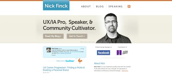 A screenshot of Nick Finch's homepage.