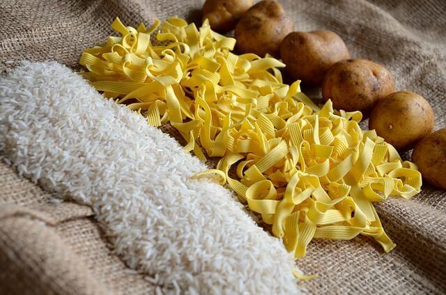 Rice, noodles, potatoes
