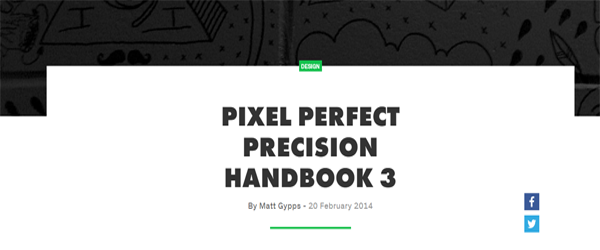 A screenshot from the Pixer Perfect Precision Handbook homepage.
