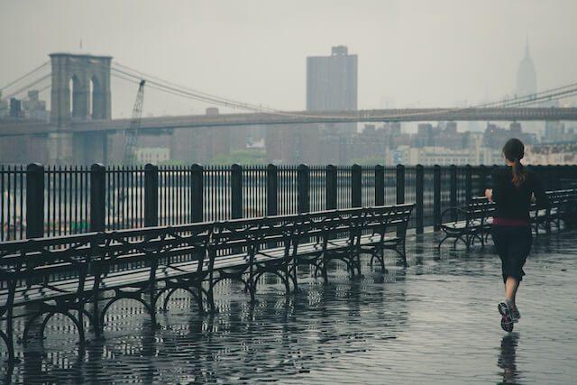 Runner by bridge