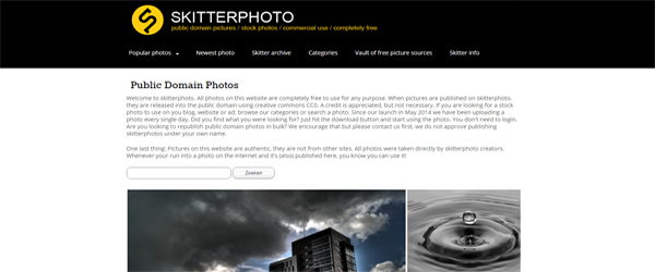 A screenshot from the Skitter Photo homepage.