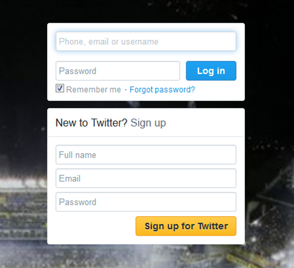 Twitter, once again providing a nice example with a short and sweet sign up form.