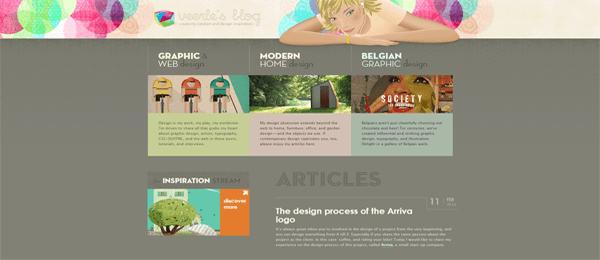 A screenshot of Veerle Pieters' homepage.