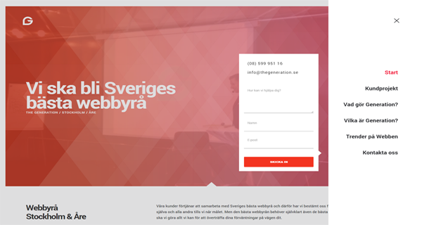A screenshot from the Webbyra Stockholm & Are website.
