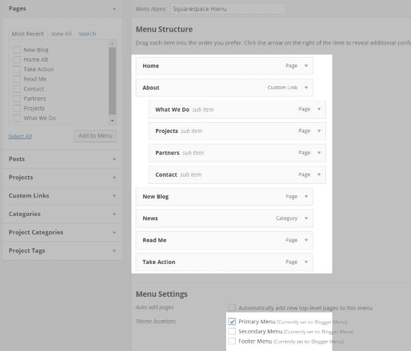 wordpress menu structure