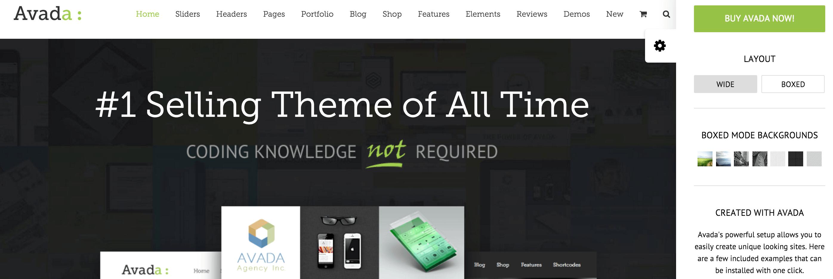 A screenshot of the Avada theme.
