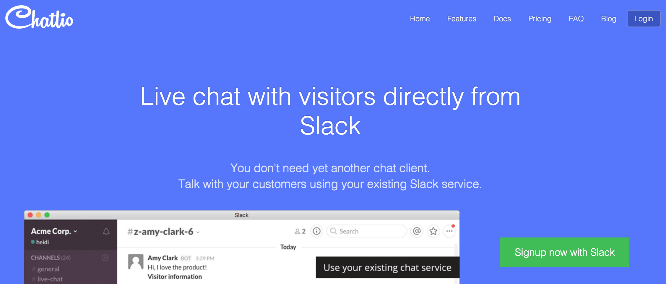 A screenshot of the Chatlio homepage.
