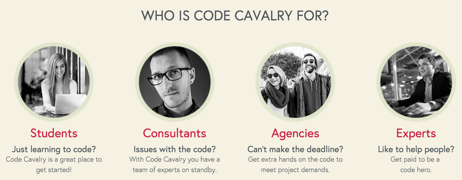 The Code Cavalry homepage.