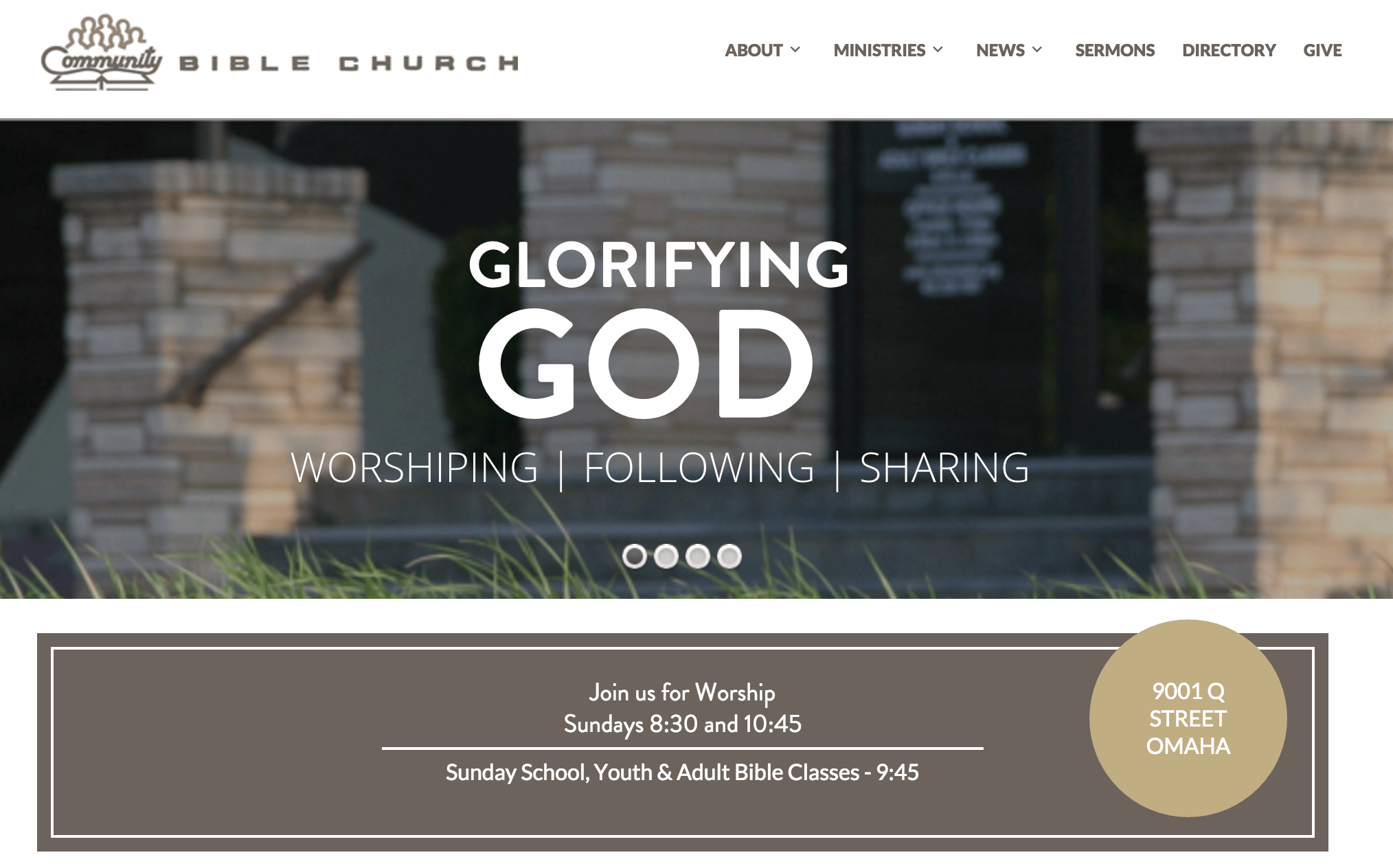 the community bible church homepage - Church Website Design Ideas