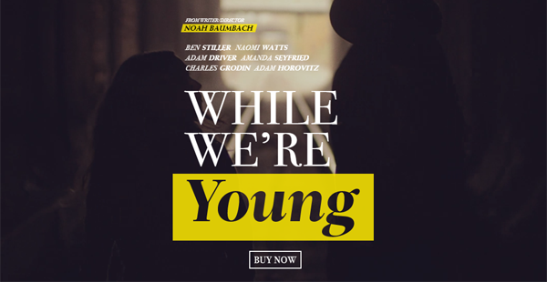 """A website showing text which reads """"While we're young"""" using contrasting colors."""