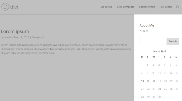 divi with sidebar
