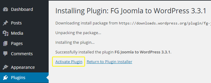 Option to activate the FG Joomla to WordPress plugin.