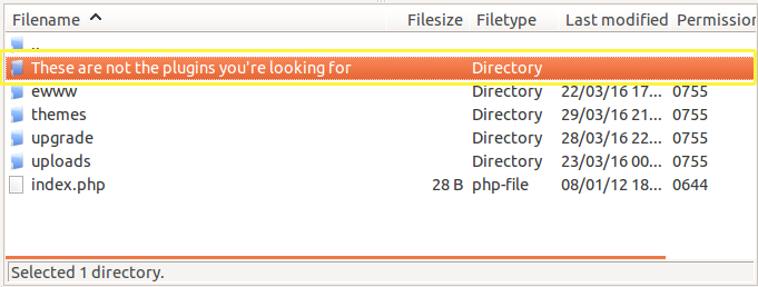 The renamed plugins folder as seen from FileZilla.
