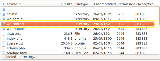 The wp-content folder as seen from FileZilla.