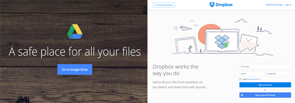 Screenshots from the Google Drive and Dropbox homepages.