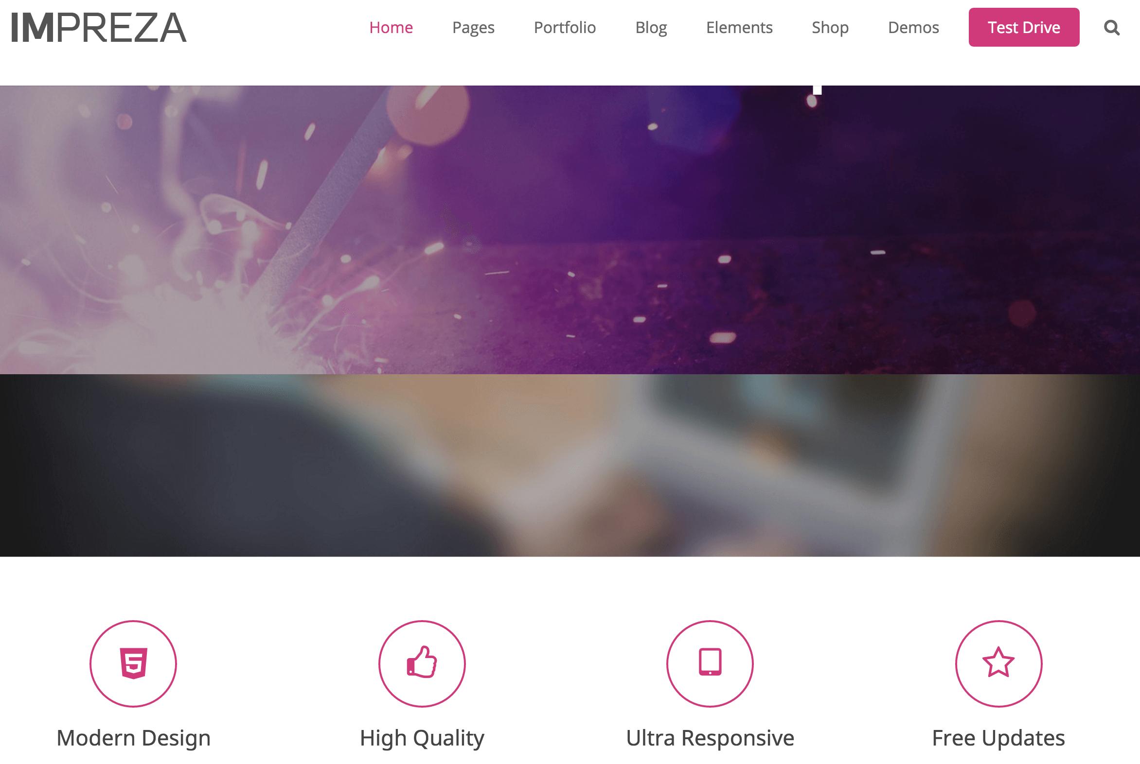 A screenshot of the Impreza theme.