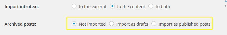 Archived posts options included with the Joomla importer.